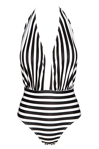 Dreamspell Retro One Piece Backless Bather Swimsuit High Waisted Pin Up Swimwear(FBA) (S(US 4-6), Black - Bathers Womens