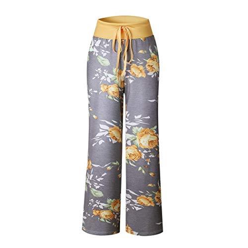 (lantusi Women Casual Print Comfy Drawstring Lounge Pants Loose Sport Long Pants Track Pants Yellow)