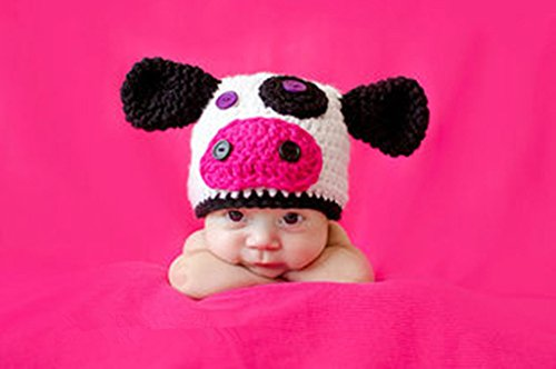 Cow Newborn Costumes (Pinbo Newbron Baby Photo Photography Prop Crochet Knitted Costume Cute Animal Cow Hat Caps)