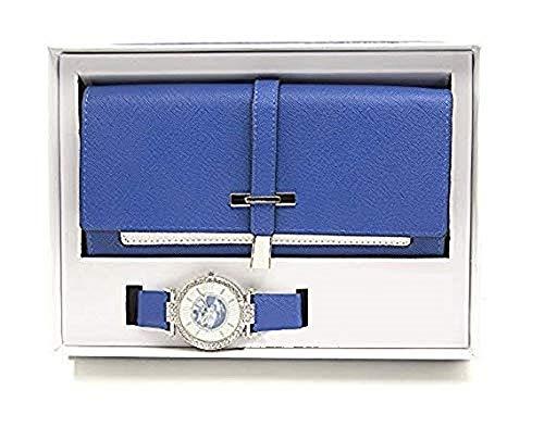 2 Watch Set - Women's Essentials - Matching Watch & Pearly saffiano textured 2 Layer Design Wallet Gift Set - ST10234 (Royal Blue)