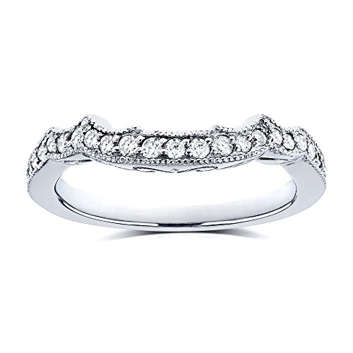 Round Tdw Ring Diamond Wedding (1/5 Carat TDW Diamond Milgrain Contour Wedding Ring in 14k White Gold - Size 7.5)