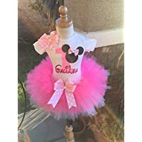Minnie Mouse Birthday Outfit Tutu Set Dress Shirt ANY AGE in Pink and White