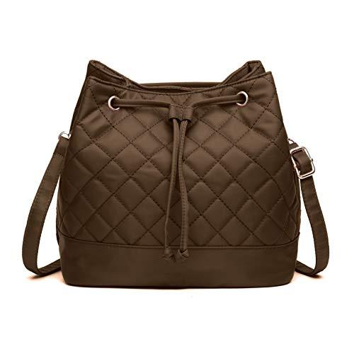 (Bucket Bag,Volganik Rock Designer Lightweight Drawstring Handbag Quilt Crossbody Bag Nylon Waterproof Shoulder Handbag (Coffee))