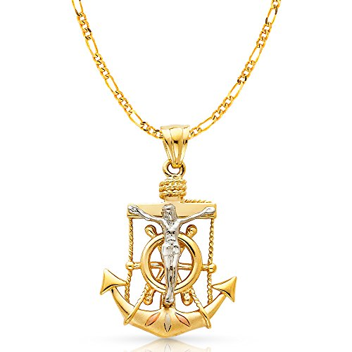 Ioka Jewelry - 14K Tri Color Gold Religious Crucifix Anchor Charm Pendant with 3.8mm Figaro 3+1 Chain Necklace - (Tri Color Crucifix)