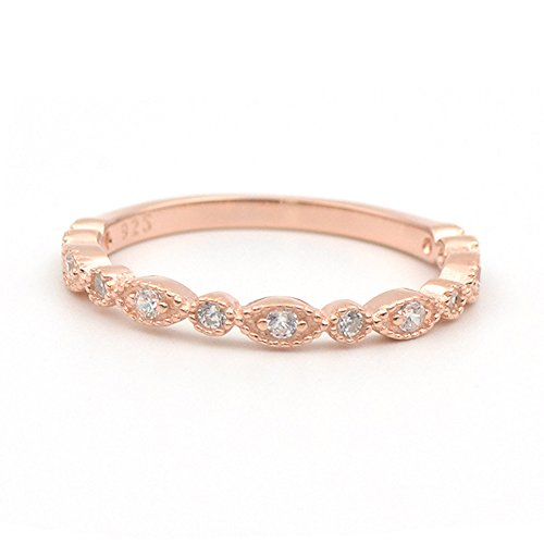 Milgrain Marquise & Round Cubic Zirconia Eternity Ring Stacking Infinity Wedding Band Sterling Silver Platium Plated or Rose Gold Plated Size 4-9 (rose-gold-plated-base, 9)