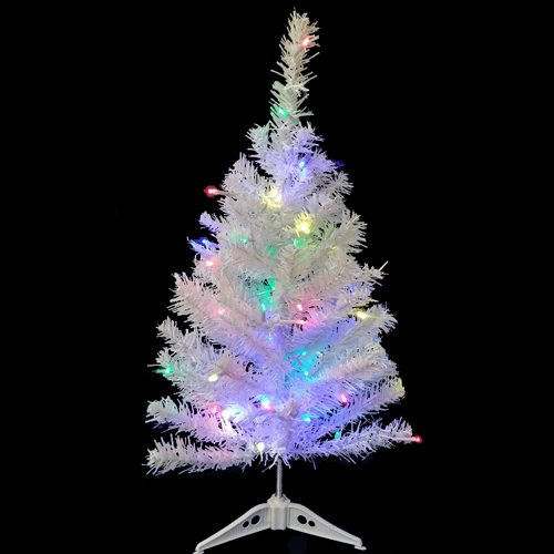 Wideskall Tabletop Christmas Pine Tree 2 Feet Artificial with 30 LED Multi-Color Lights (Tree Christmas 1 White Ft)