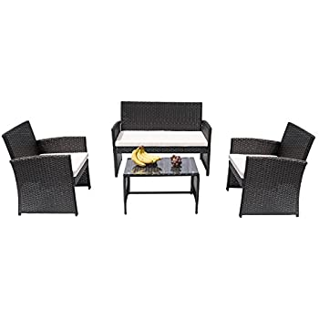 HANs 4 PC Rattan Patio Furniture Set Garden Lawn Sofa Cushioned Seat Wicker  Sofa (Black