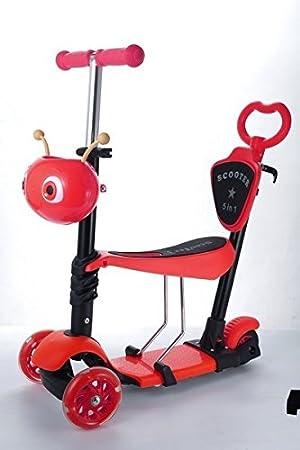 Patinete/moto 5 en 1 con ruedas intermitentes para bebés y niños