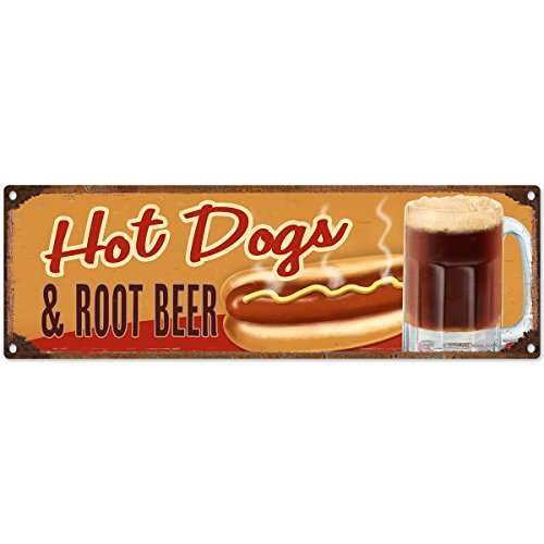 Hot Dogs and Root Beer Distressed Metal Sign Diner Decor 18 x 6