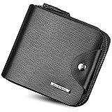 Fuerdanni Men Fashion Multifunction Leather Short Wallet Zipper Bag Card Package Purse Qb51C Black
