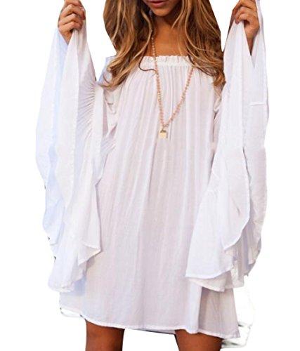 UUYUK Women's Trumpet?Sleeve Off Shoulder Solid Loose Short Dress White US XL ()