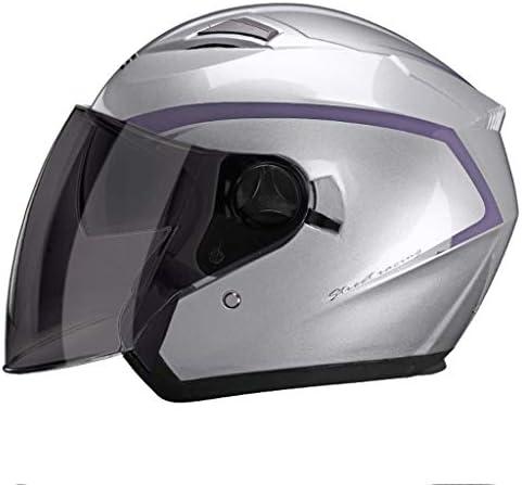 NJ ヘルメット- 防曇二層茶ミラーヘルメット男性と女性四季ユニバーサルライトハーフヘルメットマルチカラー (Color : Silver, Size : 34x25cm)
