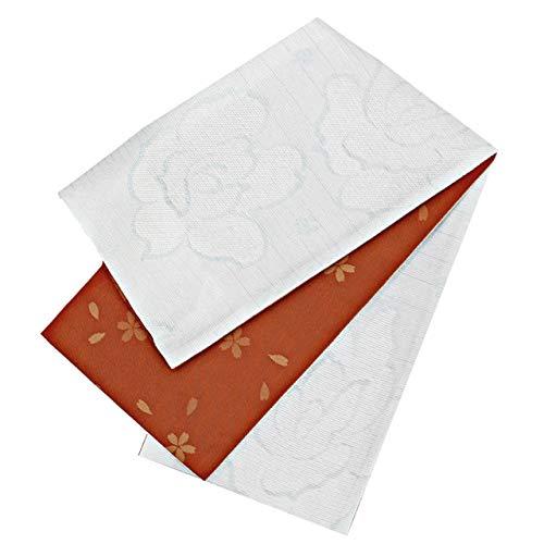 連結する割り当てる重要な半幅帯 レディース 桐生織 花柄 淡水色 朱赤色 リバーシブル N3113
