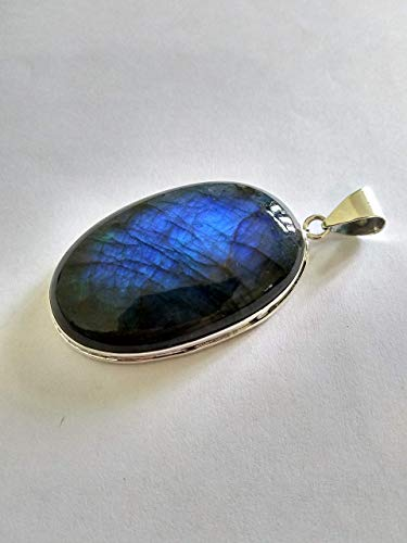Labradorite Pendant, Sterling Silver Pendant, Statement Pendant, Cabochon Pendant, Promise Pendant, Boho Pendant, Large Blue Flash Pendant, Gift or Her, Statement Pendant