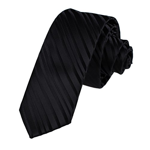 DAE7A05D Black Skinny Tie Woven Microfiber Factory Skinny Neckties Stripes Christmas Thin Tie By Dan (Thin Mens Necktie)