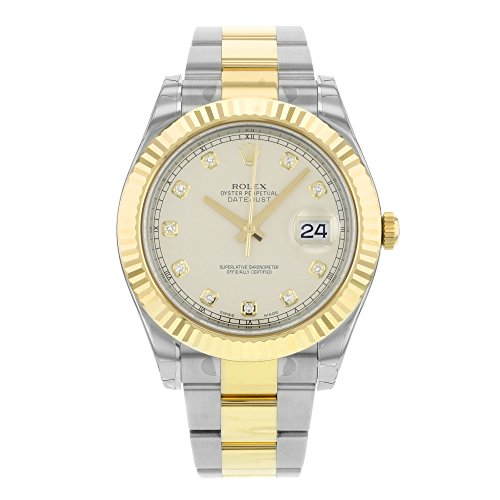 Rolex Datejust II Ivory Diamond Dial Stainless Steel With 18kt Yellow Gold Mens Watch 116333IDO