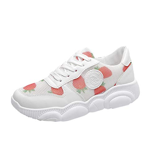 Shumao Sneaker Fashion for Women,Women Straberry Casual Sport Outdoor Walking Low Lace Up Girls Shoe Sneaker,Women's Cross Training Shoes,White,US:5.5