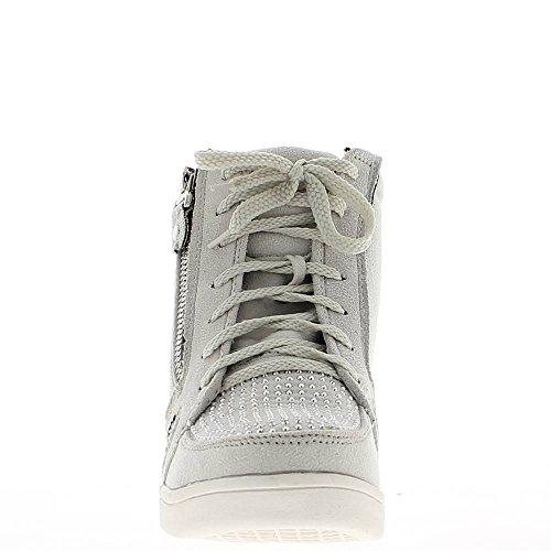 ChaussMoi Zapatos Cuñas Gris Claro con Diamantes de Imitación de Tacón 6cm