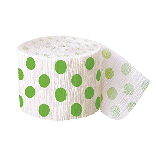 30ft Lime Green Polka Dot Crepe Paper Streamers (Lime Green Polka Dot Curtains)