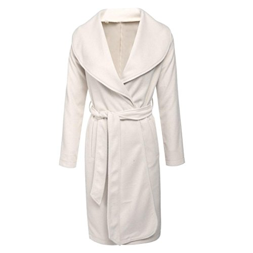 White Lightweight Belted Jacket - Hufcor Womens Waterfall Duster Coat Wool Blended Belted Jacket Trench Coat