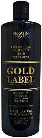 Gold Label Professional Brazilian Keratin Blowout Hair Treatment Super Enhanced Formula Specifically Designed for Coarse, Curly, Black, African, Dominican, and Brazilian Hair Types (1000ml)
