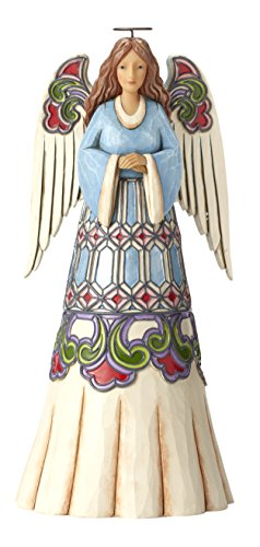 Enesco Jim Shore Heartwood Creek Blue Angel with Stained Glass Design Stone Resin Figurine, - Glass Angel Stained