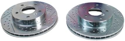 BAER 05118-020 Sport Rotors Slotted Drilled Zinc Plated Front Brake Rotor Set Pair