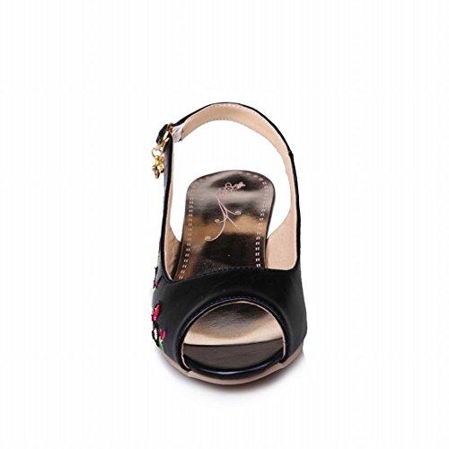 Charme Voet Dames Comfort Peep Toe Lage Hak Geborduurde Pump Schoenen Zwart
