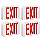 TORCHSTAR Red LED Exit Sign Emergency Light, Ceiling/Side/Back Mount, AC 120V/277V, Recharged Battery Included, Single/Double Face, UL-Listed, for Apartments, Hotels, Schools, Pack of 4