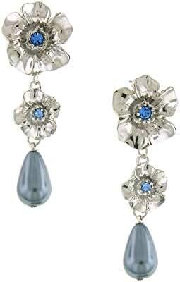 Silver-Tone Blue Crystal Flower Linear Earrings