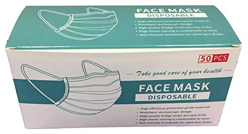 3-Ply Disposabl Face Mask with Elastic Earloop for Dust, Particles, Pollution (50, Blue)