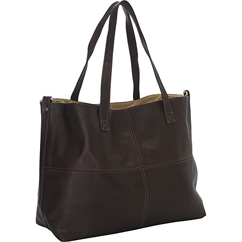 Piel Leather Large Open Multi-Purpose Tote, Chocolate, One Size -