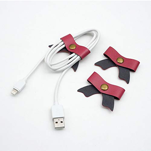 SenseAGE 3pcs Cord Organizer Earbud Holders Earphone Wrap USB Cable Clips, Earphone Winder with Leather - Bow Pink