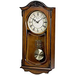 Bulova Clocks C3542 Cranbrook Wall Mount Analog Wooden Chiming Clock, Brown