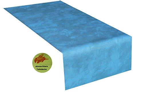 Tischläufer abwaschbar,40x140cm eckig blau meliert , sogar Ketchup lässt sich mühelos mit einem feuchten Tuch abwaschen! Schmutz- und Wasserabweisend - Farbe wählbar