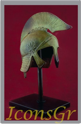 (Iconsgr Ancient Greek Bronze Museum Replica of Athenian Helmet on a Base(1357-1))