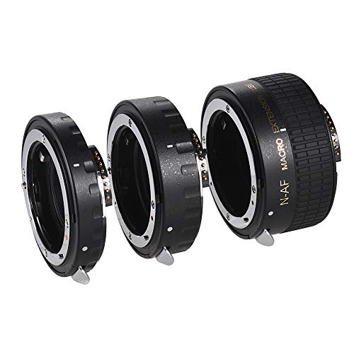 (Andoer Auto Focus Macro Extension Tube Set Copper AF Macro Lens Extension Tube Ring with Covers for Nikon D300 D7000 D7100 D7200 D800 D810 D850 D5500 D5600 D5100 D5300 D3300AL Lenses)