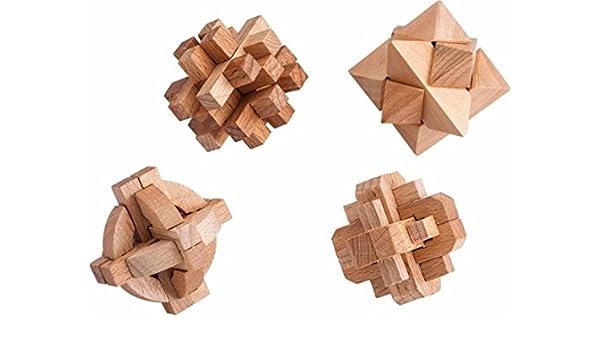 Amazon com: Samsonico USA - Wooden Puzzles (Set of 4) - Brown: Toys