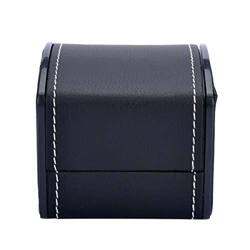 Lanscoe Single Watch Box Wristwatch Display Case Faux Leather with Cush Black