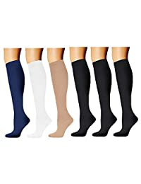 Compression Socks for Women & Men 20-30 mmHg - Graduated Stockings for Running Cycling Athletic Basketball Nurse Medical Edema Hiking Travel Pregnancy 3-6 Pairs
