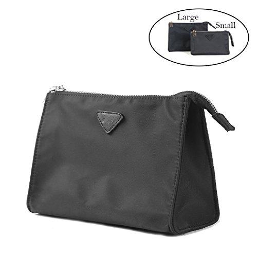 LIKU Nylon Waterproof Makeup Pouch Zipper Purse Makeup Clutch Bags Insert (Black Nylon Pouch)