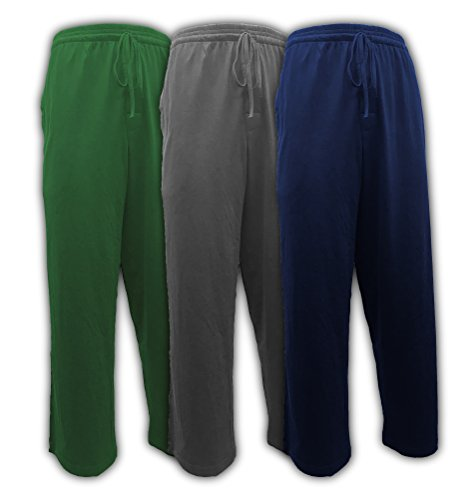 Andrew Scott Men's Pack of 3 Soft & Light 100% Cotton Drawstring Yoga Lounge & Sleep Pant (3 Pack- Hunter Green/Navy/Charcoal, ()