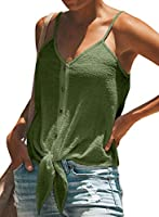 BLENCOT Women's Button Down V Neck Tie Knot Strappy Tank Tops Loose Casual Sleeveless Shirts Blouses