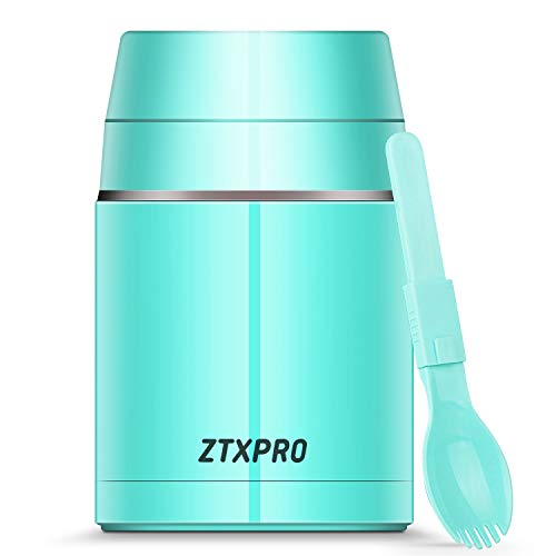 Insulated Thermos Food Jar for Hot Food Wide Mouth 27 oz with Folding Spoon & Handle Food Storage Container ZTXPRO Leak Proof Design for School Picnic Office Outdoors - Cyan Blue - Outdoor Food Jar