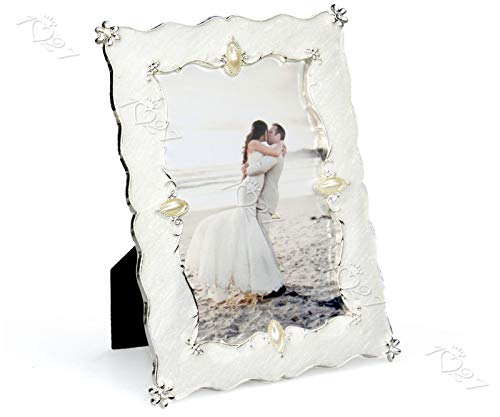 Blue_Bright Silver White Photo Frame Picture Vintage Style Fashion Wedding Decoration Resin Glass Front 4