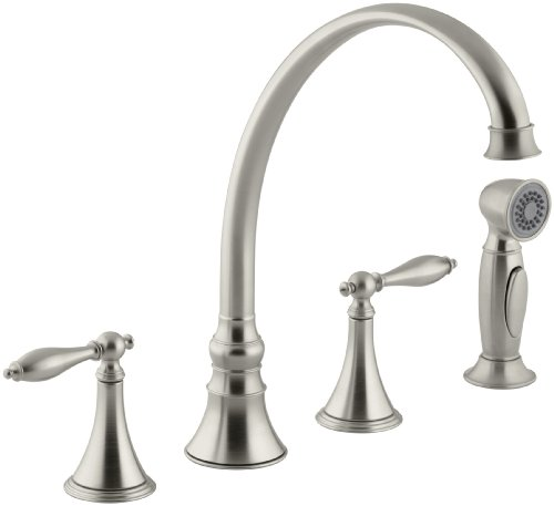 Vibrant Brushed Nickel Finial (KOHLER K-377-4M-BN Finial Traditional Kitchen Sink Faucet with 9-3/16-Inch Spout Reach, Vibrant Brushed)
