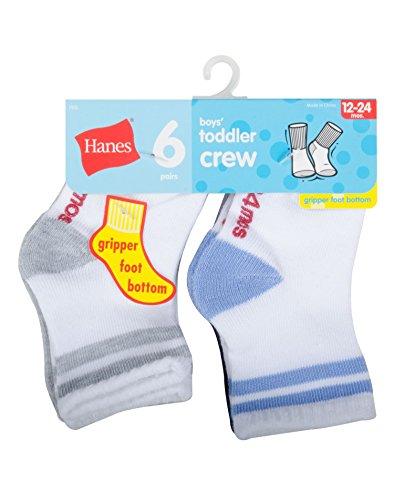 Hanes 26 Toddler Boys Non Skid Crew Socks (Pack of 6) - White w/ Asst Heel and Toe - 12-24M