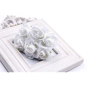 6Pcs Artificial Rose flower Stamen Scrapbooking Bouquet flowers for Home Garden wedding Car corsage decoration Supplies Color White 49