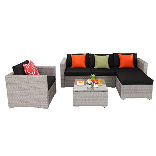 HTTH 6 Pieces Outdoor Patio Wicker Furniture Sectional Sofa Set,All Weather PE Rattan Sofa with 4″ Seat Cushions and Ottoman, Garden, Backyard, Pool,Black (Black)