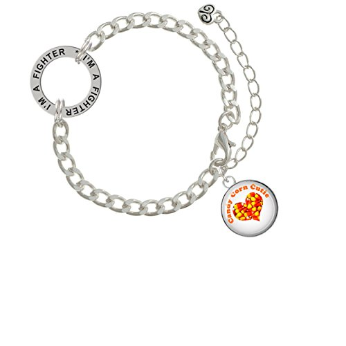 Domed Candy Corn Cutie I'm A Fighter Affirmation Link Bracelet
